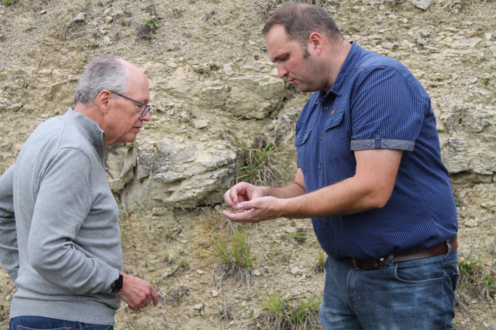 Checking out the terroir in the l'Argillier vineyard with Jérôme Coessens. Photo - Martha Wright