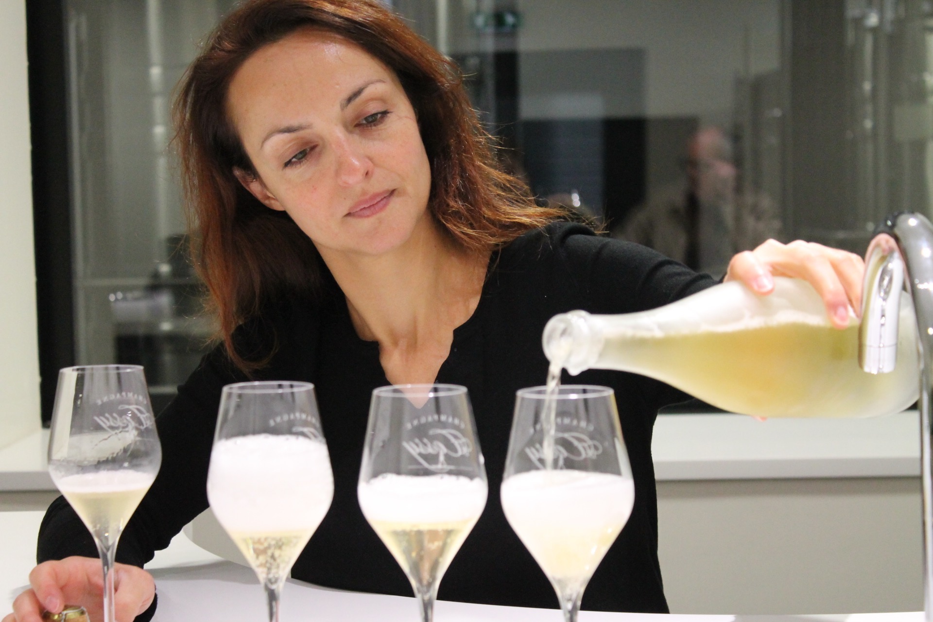 Tasting the 2011 Blanc de Blancs with Sophie Cossy. Photo - Martha Wright