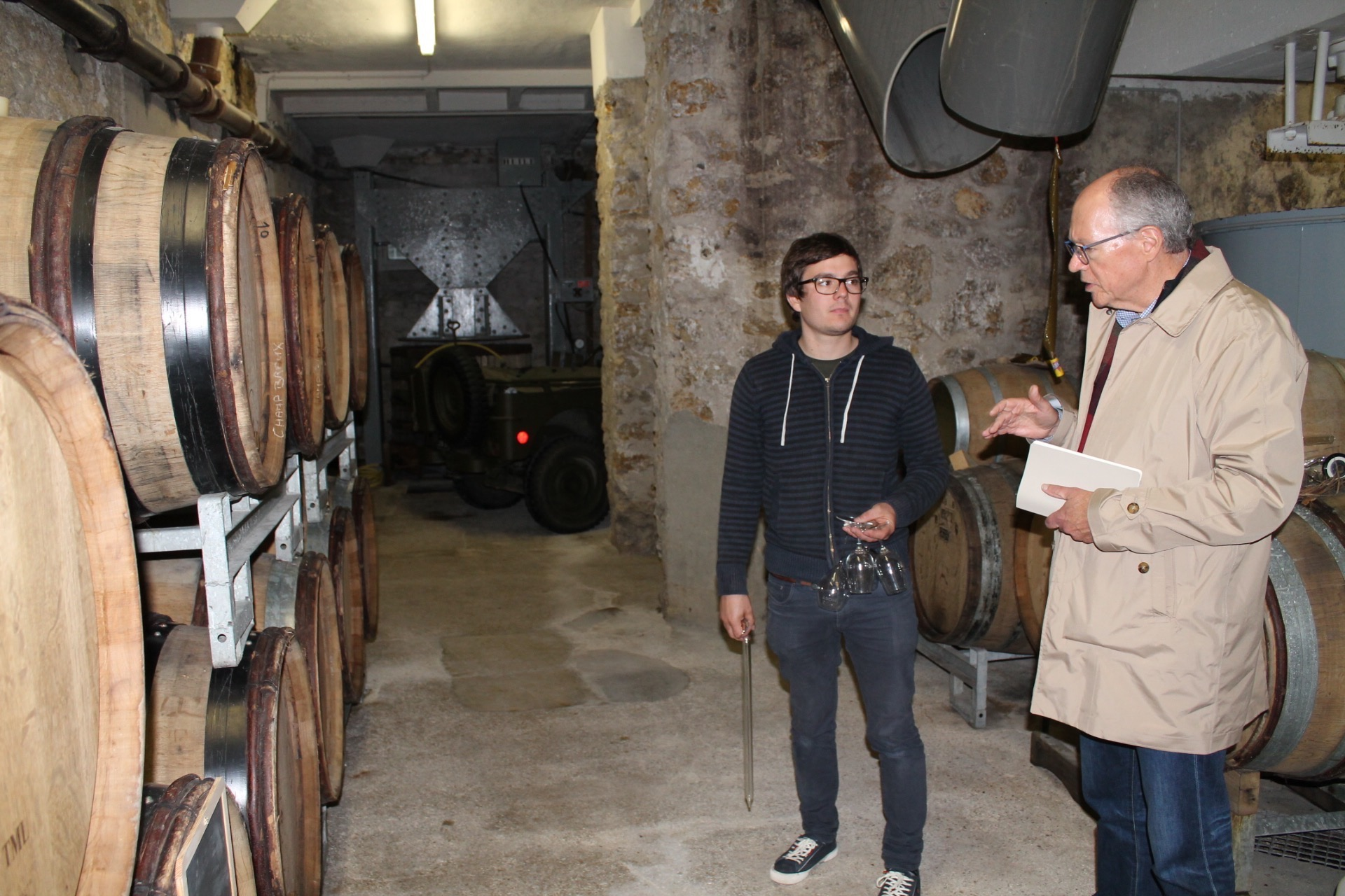 In the cellar in Avize with Gaetan GIllet, Champagne MOST. Photo - Martha Wright