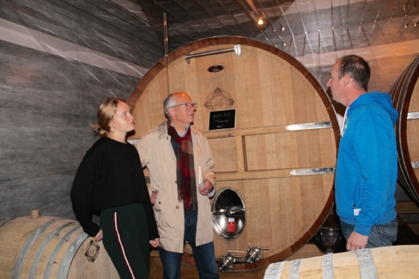 Winemaker Vincent Bauchet at right, with your importer and daughter Pirrie