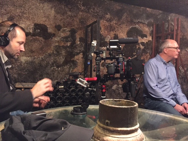 Filming in the Violot-Guillenard cellars in Pommard