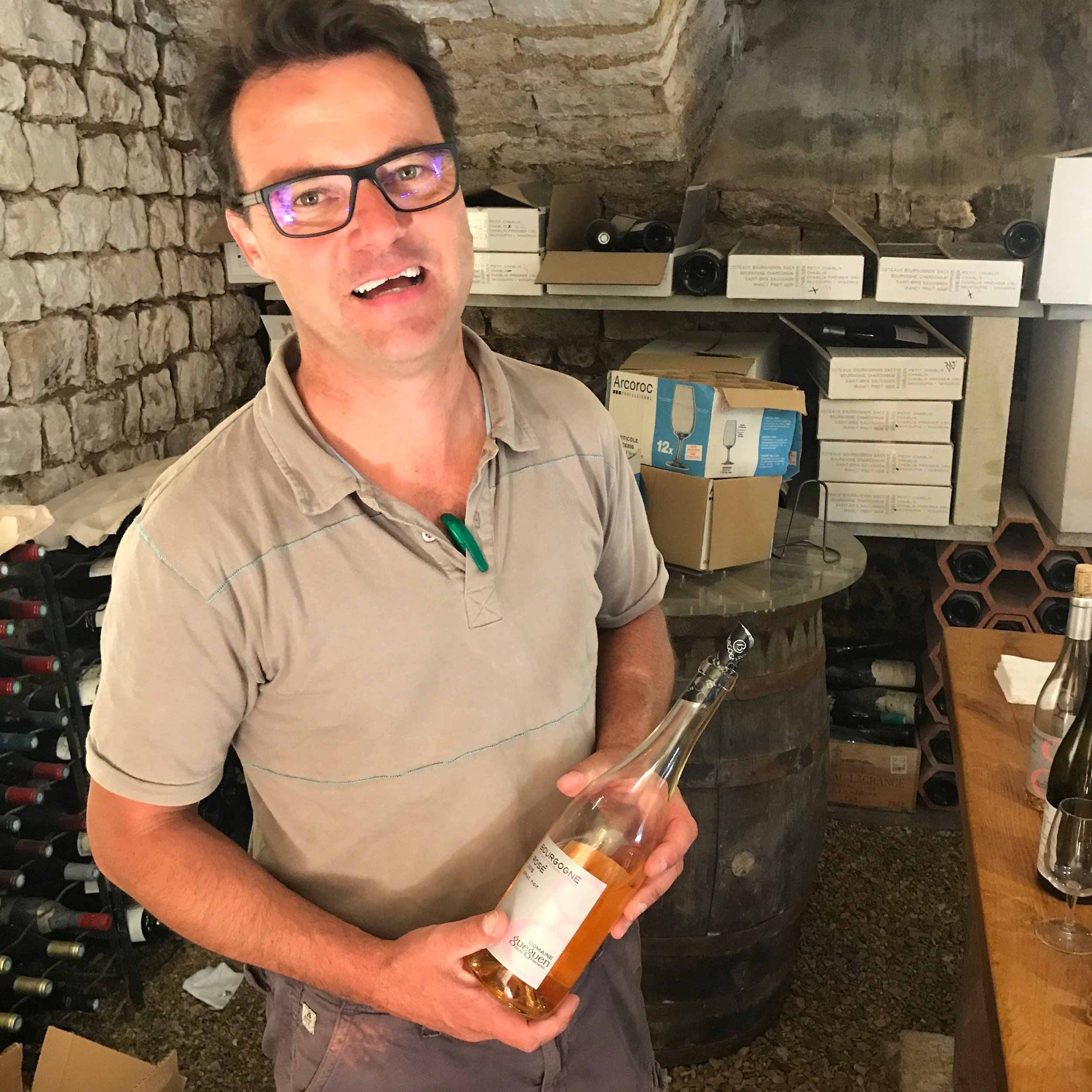 In the cellar with  Frédéric Gueguen  in Chablis