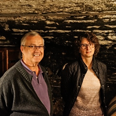 Gilles Gerard and Sylvie Prevot-Joly in their cellar in Puligny-Montrachet