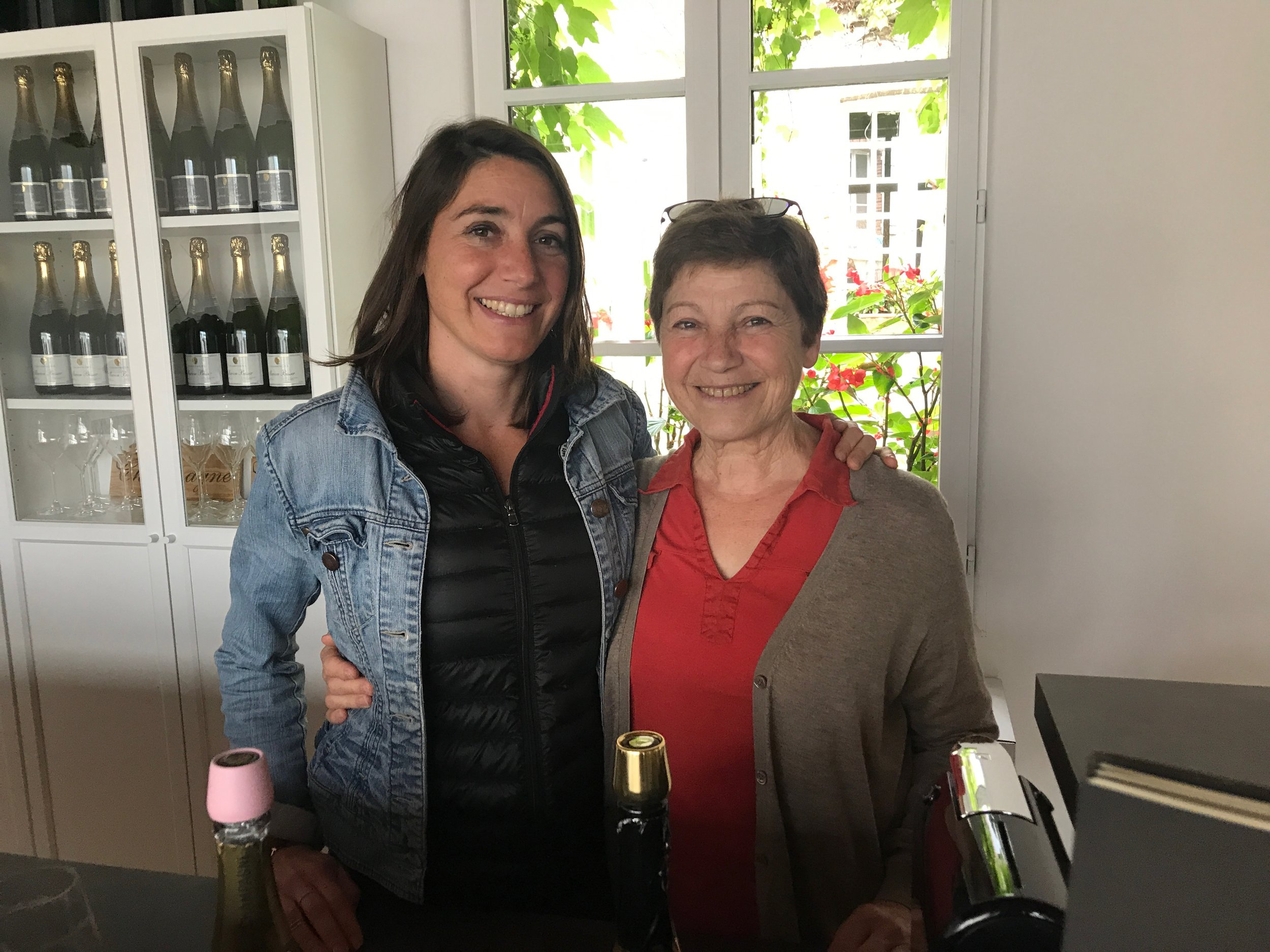 Elodie and her mom Bernadette, in their tasting room in Hautvillers