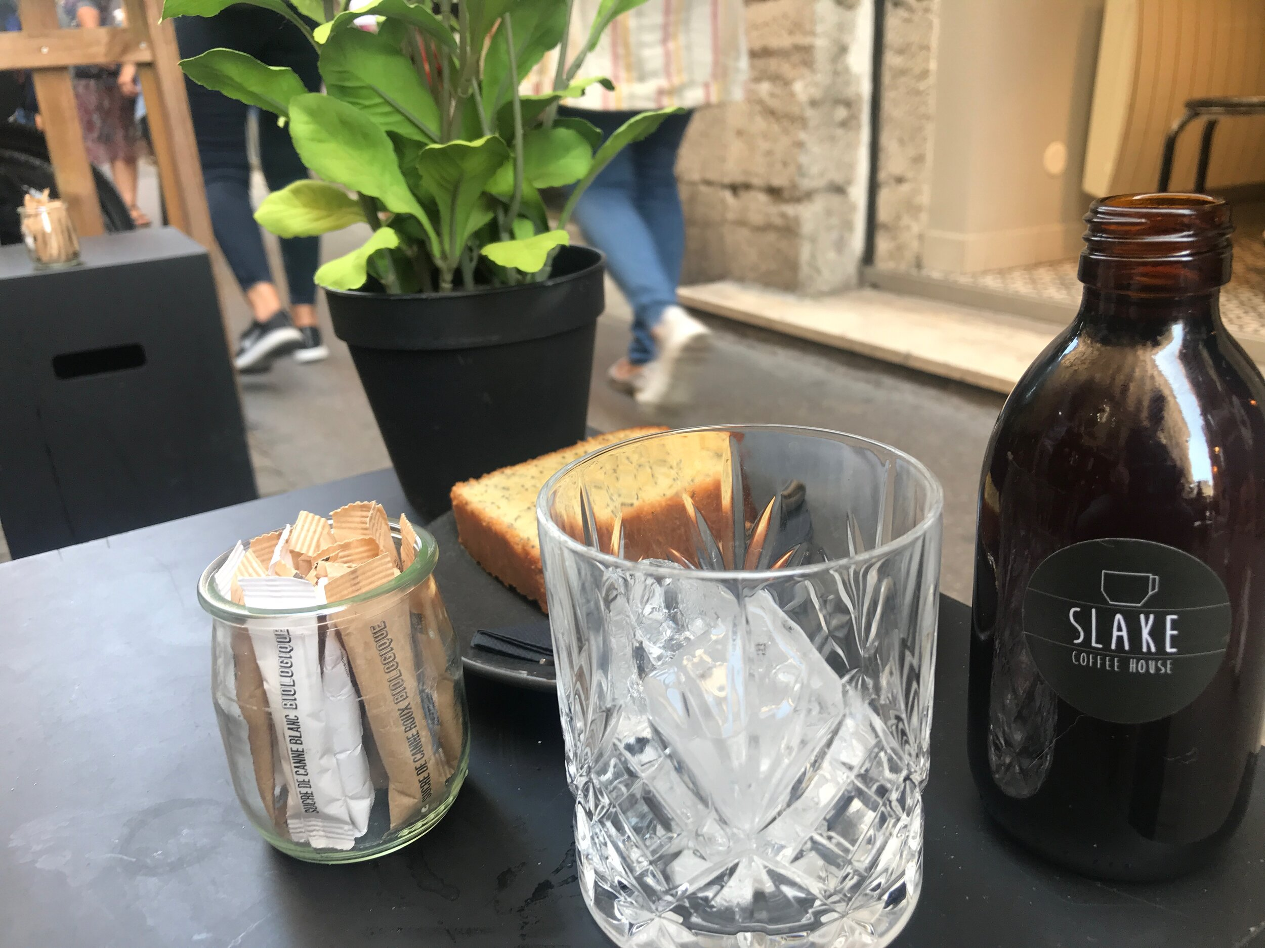Great Cold-Brew and Lemon cake at  Slake  in Lyon