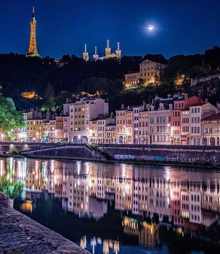 Lyon - a view across the Saone at night