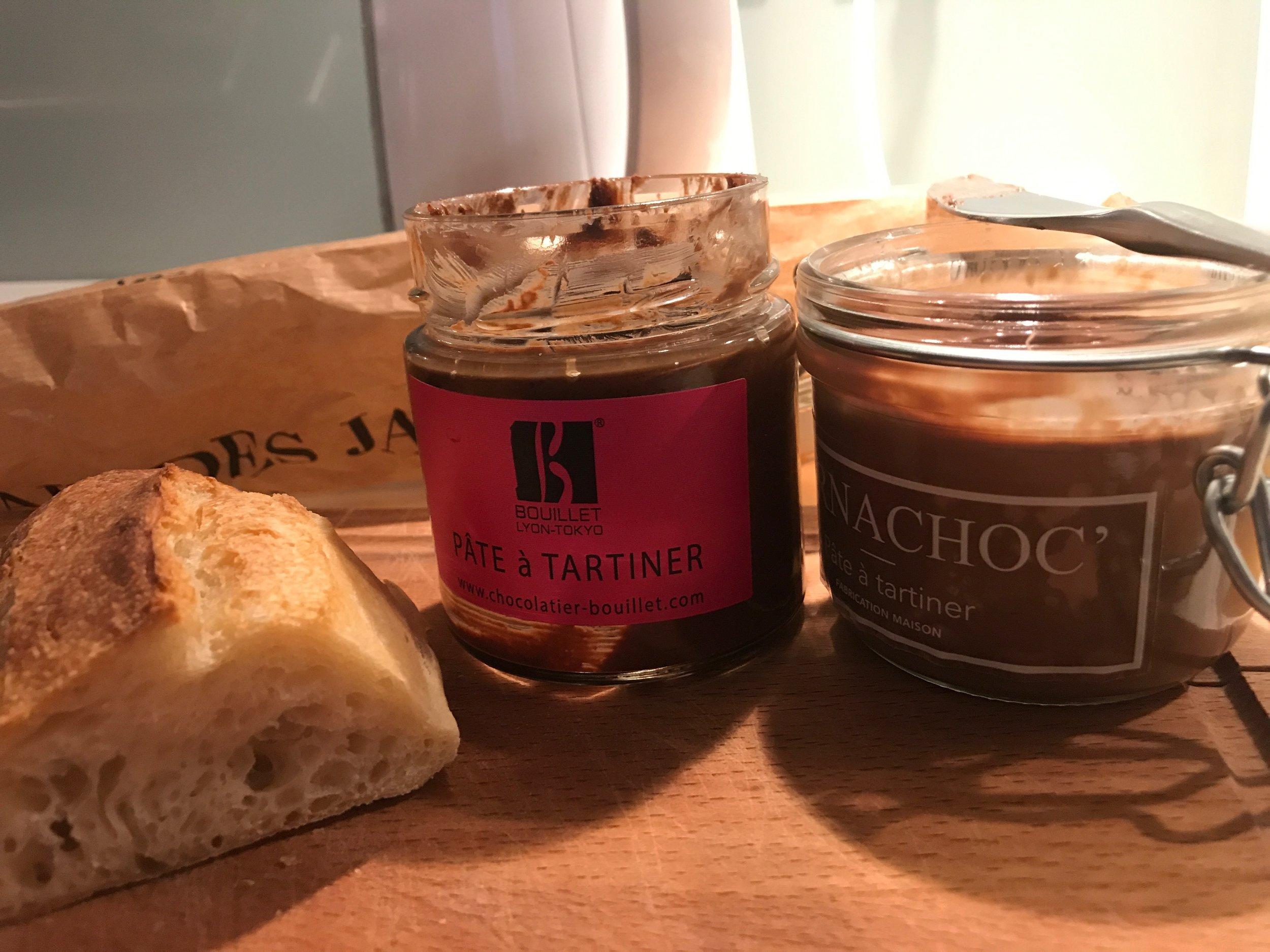 Artisanal Pâte-à-Tartiner (high-end Nutella) from the two top Chocolatiers in Lyon