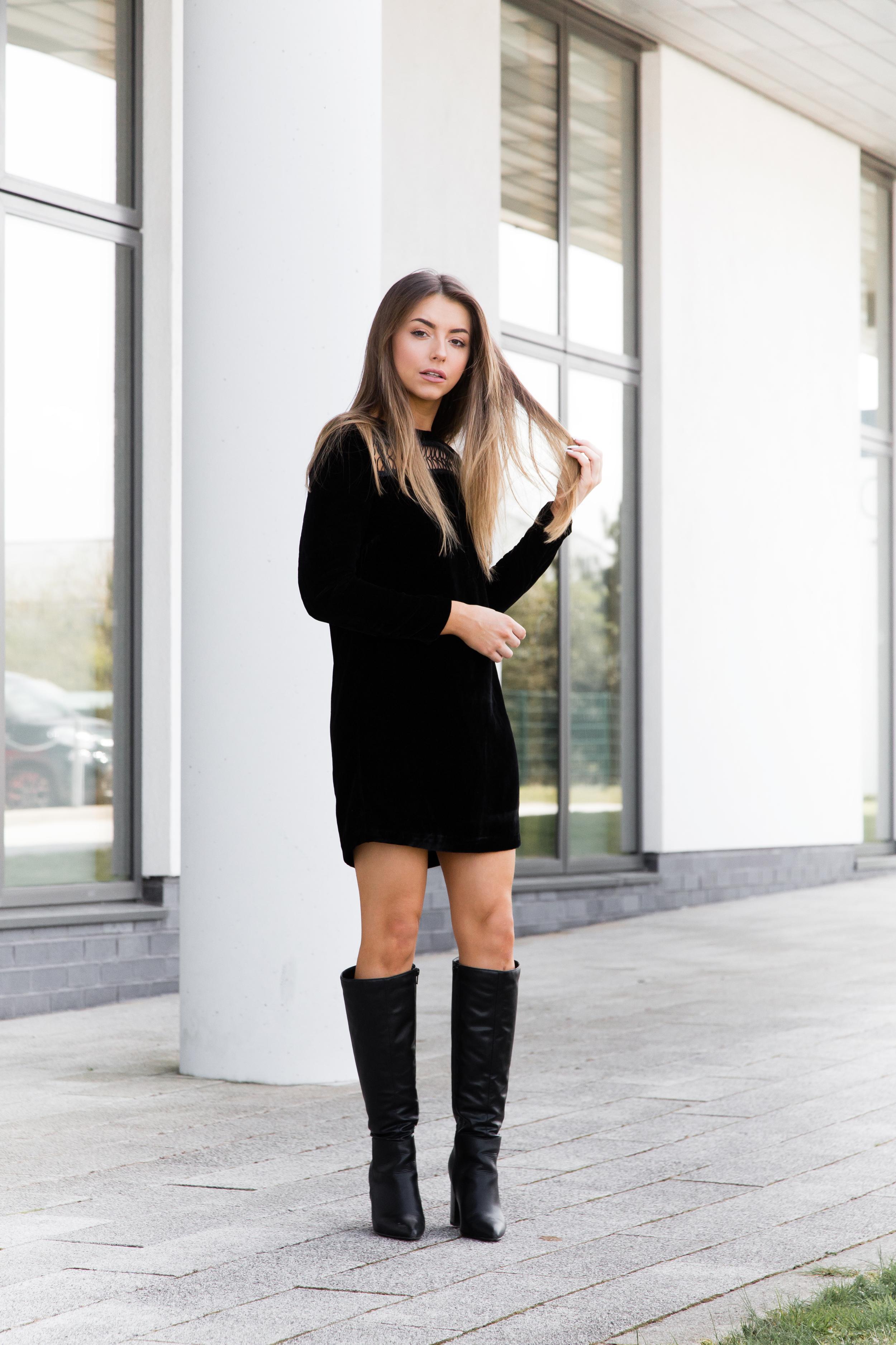 Velvet LBD outfit