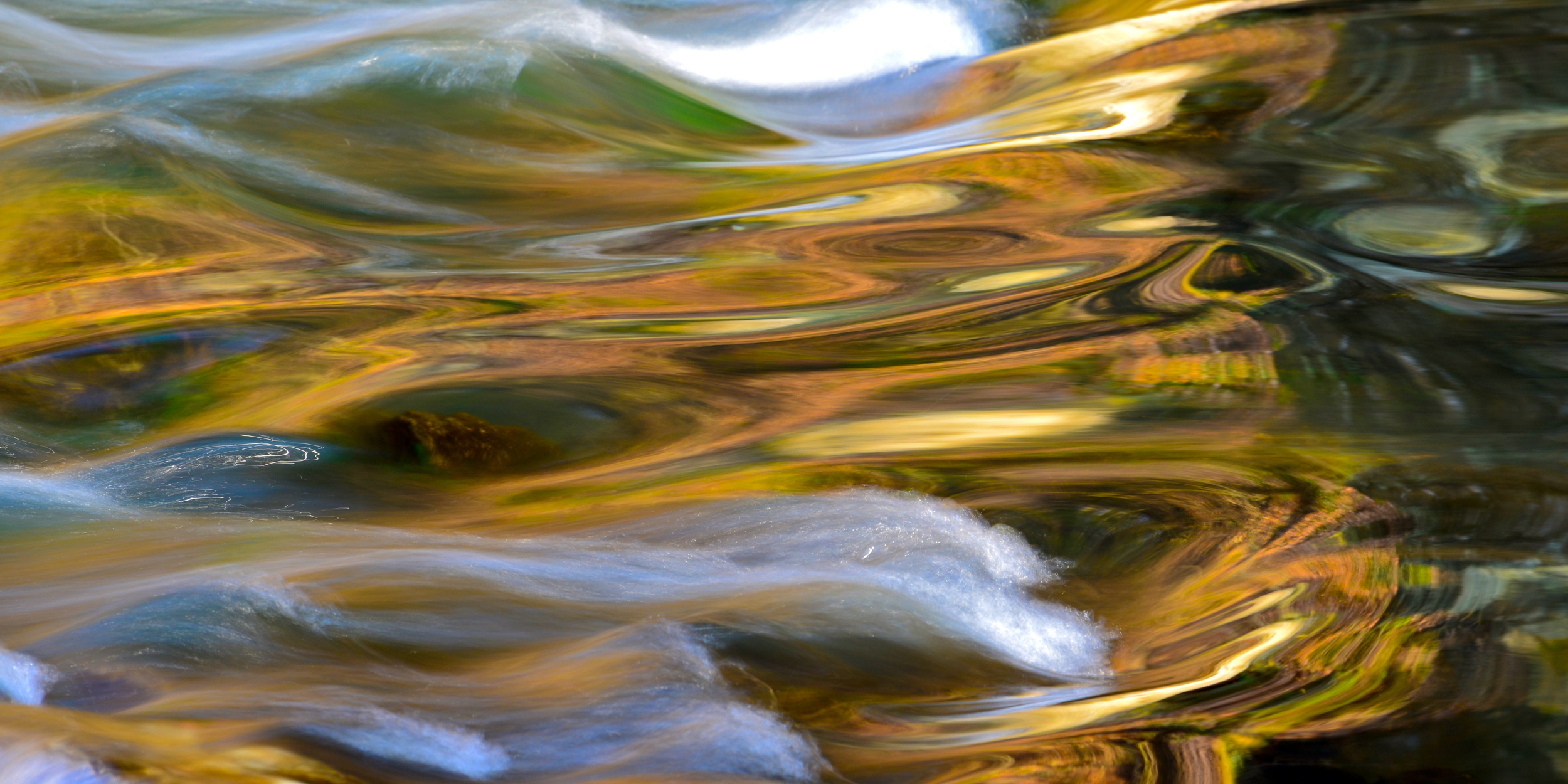 A colorful water reflection in Wissahickon Park in Philadelphia.