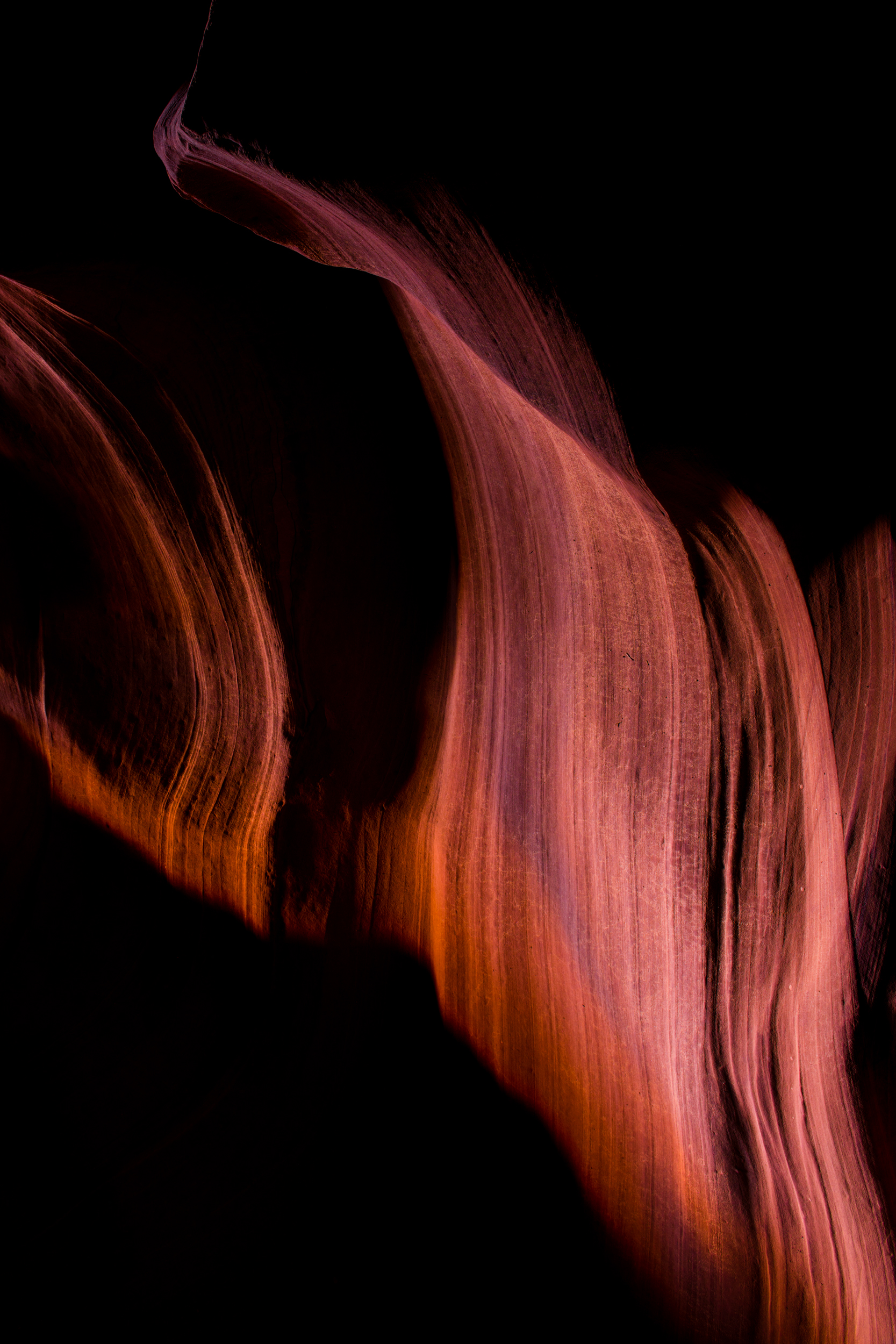 Abstract sandstone and shadows in Upper Antelope Canyon. Page, Arizona