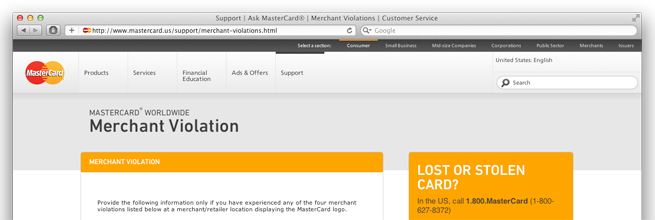 MasterCard Merchant Violation Report