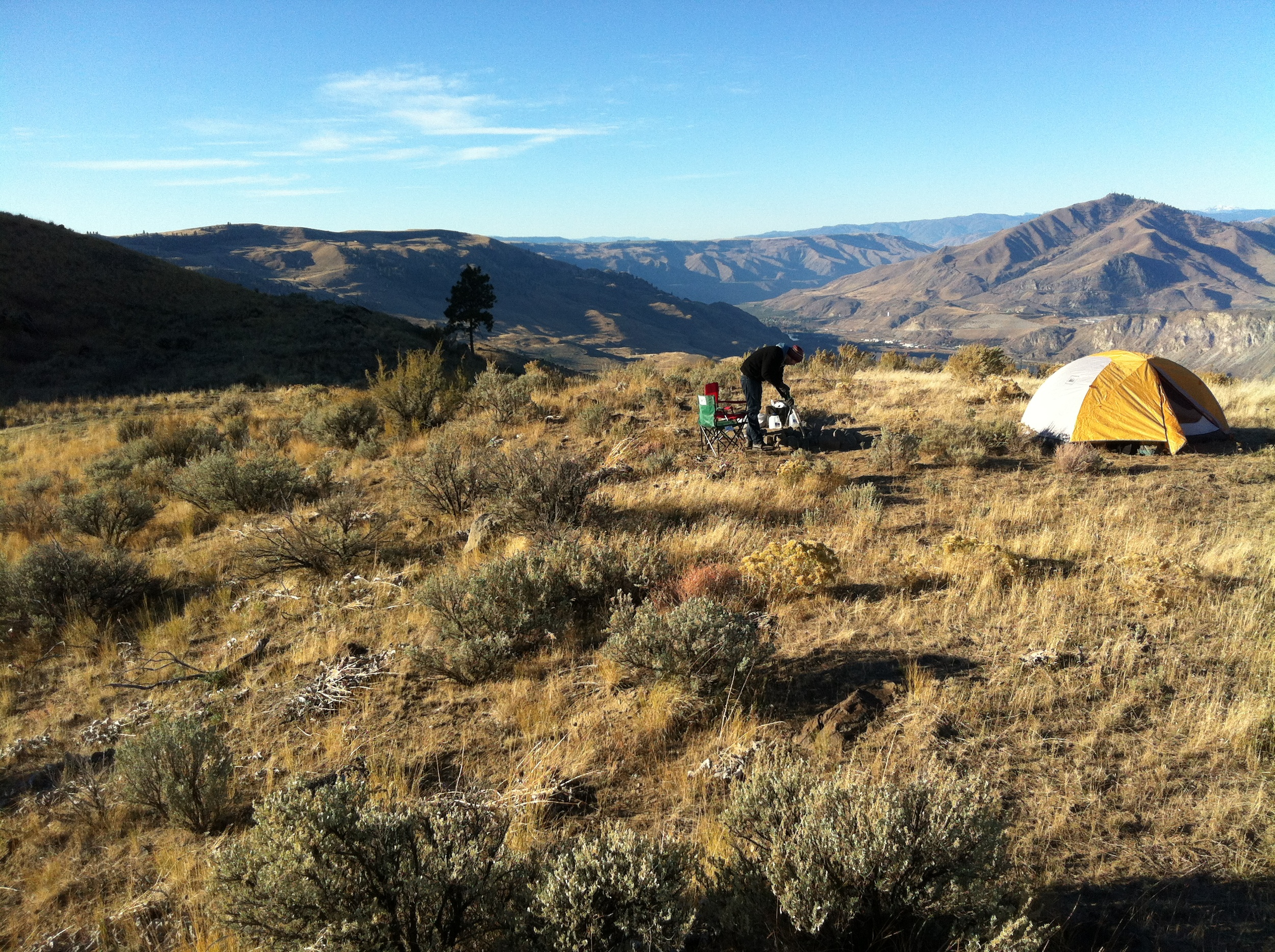 Our first morning after camping on our property in October 2013. Much colder and windier than we anticipated!