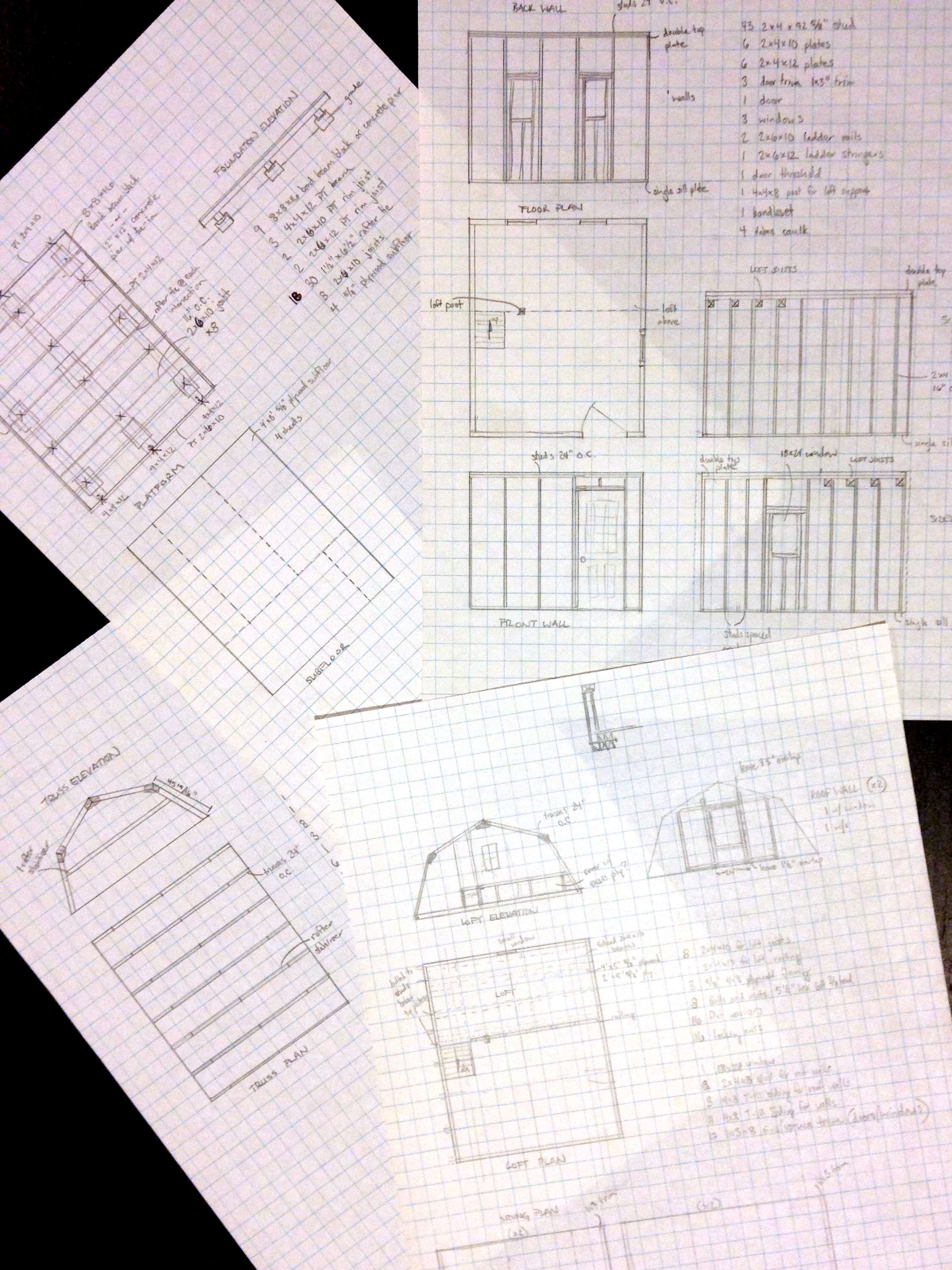 Four sheets of sketched plans for our build-from-scratch design. Mr. Powell, my high school architecture teacher, would cringe at my sloppy lines and poor lettering.