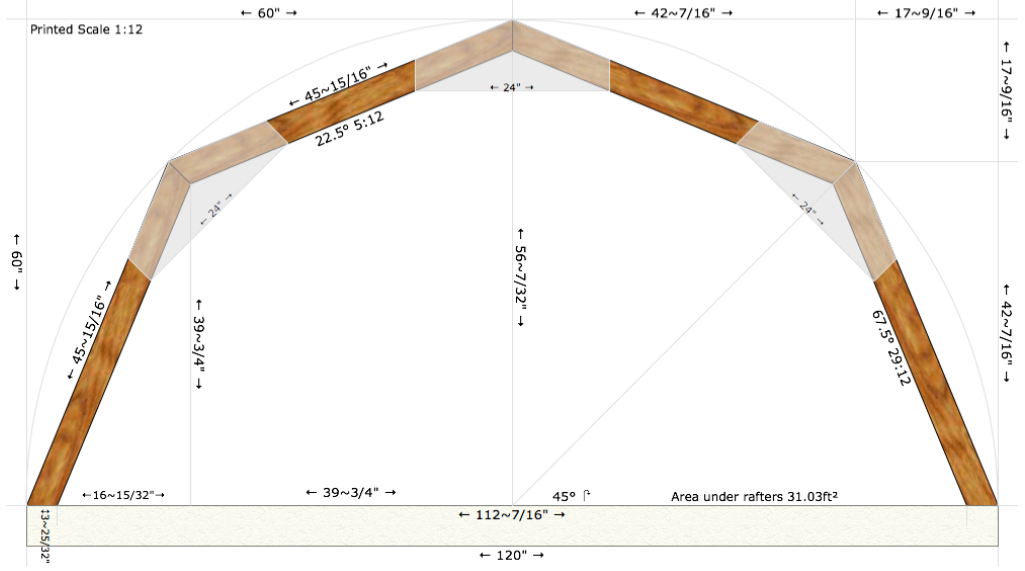 Part of our truss plans, including detailed measurements and angles for easy construction.