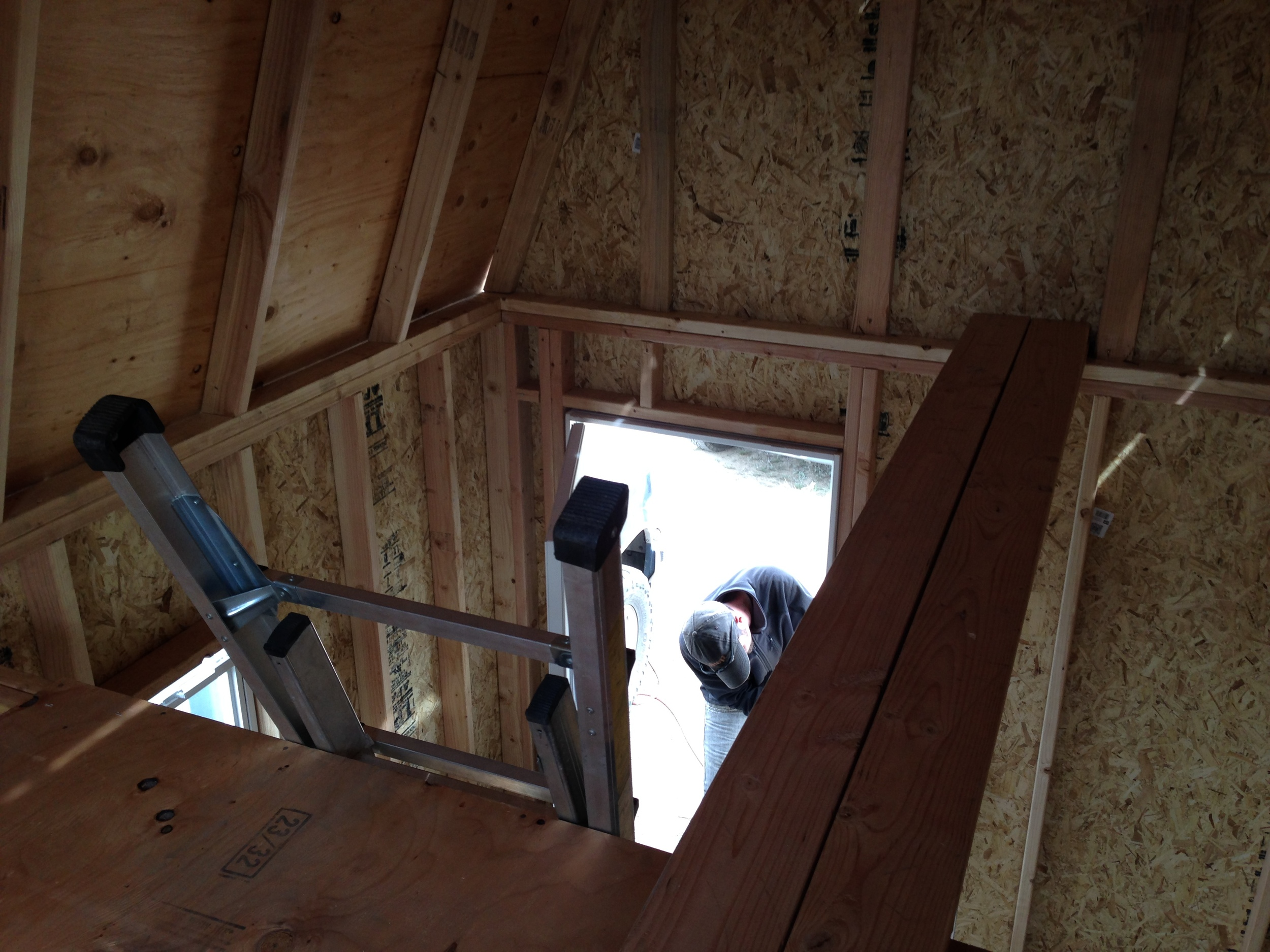 I took a moment to admire the view from the loft while Alex installed the door.