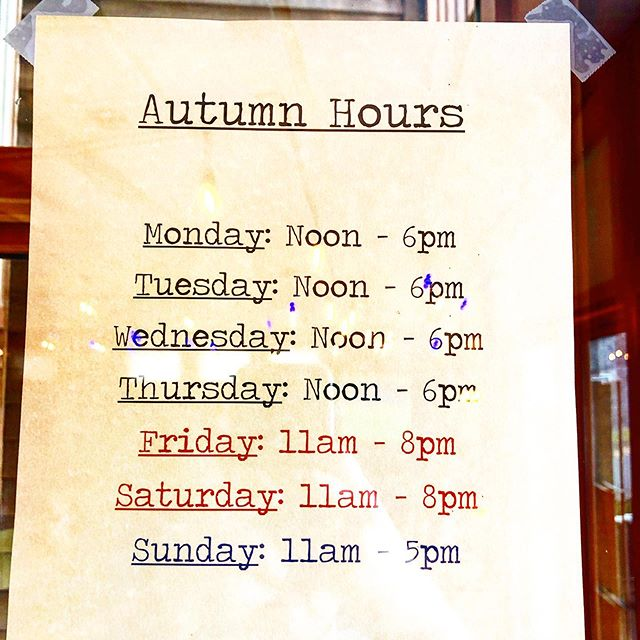 Our Autumn hours start tomorrow.