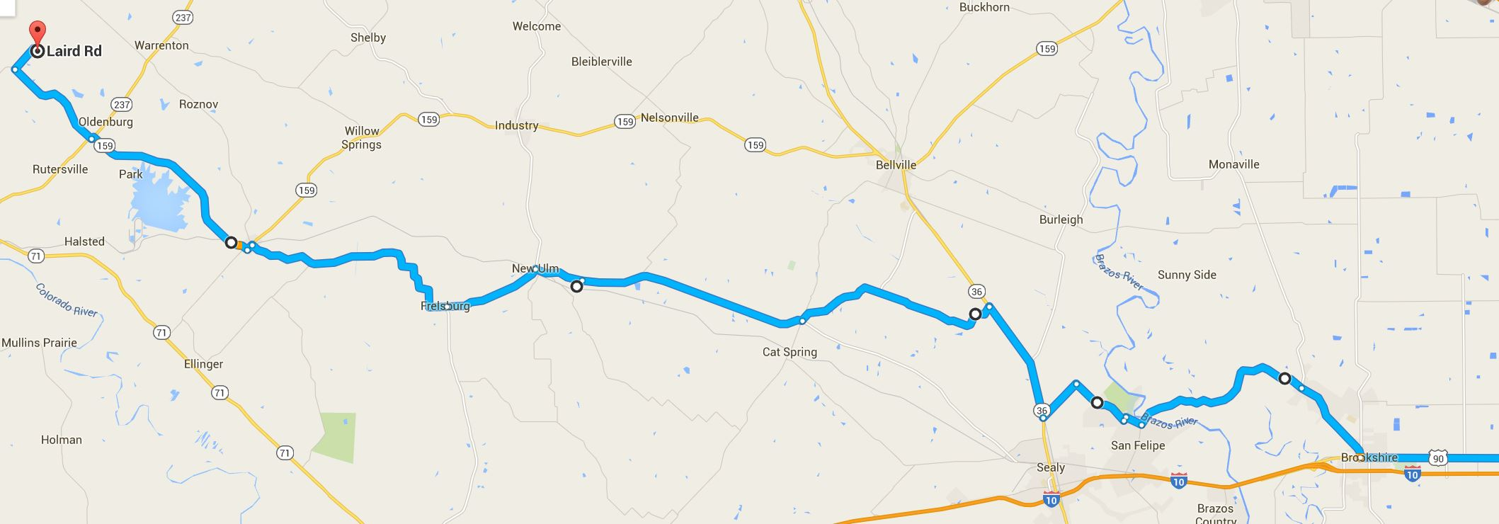 Click to expand. Route from Katy to Round Top, TX