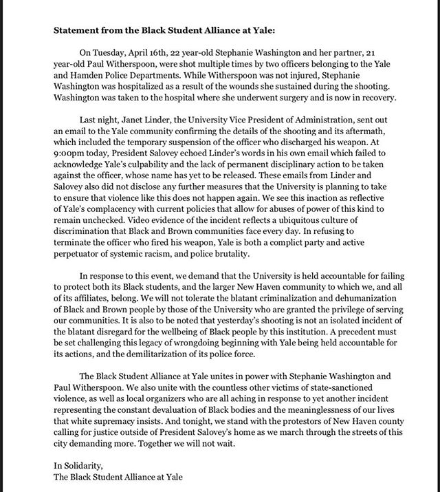 Statement from the Black Student Alliance at Yale regarding the shooting of 22 year old Stephanie Washington.