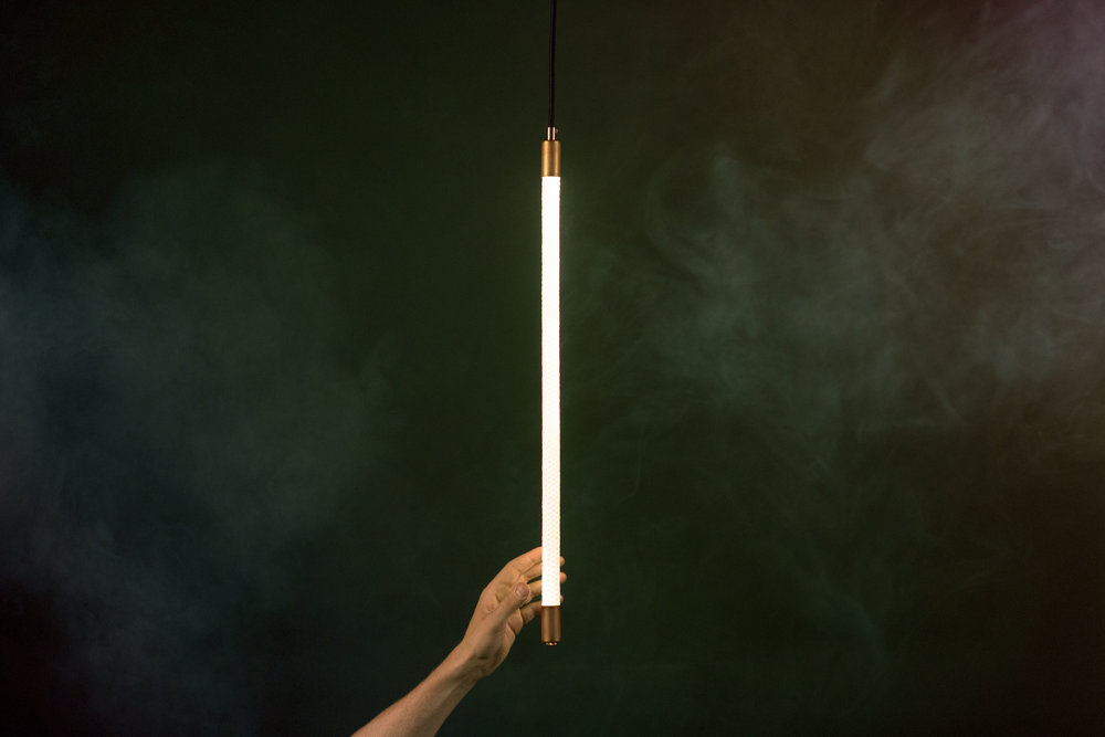 A creative alternative to the standard pendant light, our Tracer Pendant is a simple, elegant light that makes a statement regardless of your project's budget.    As pictured: Two Foot Tracer Pendant (Brass Hardware)