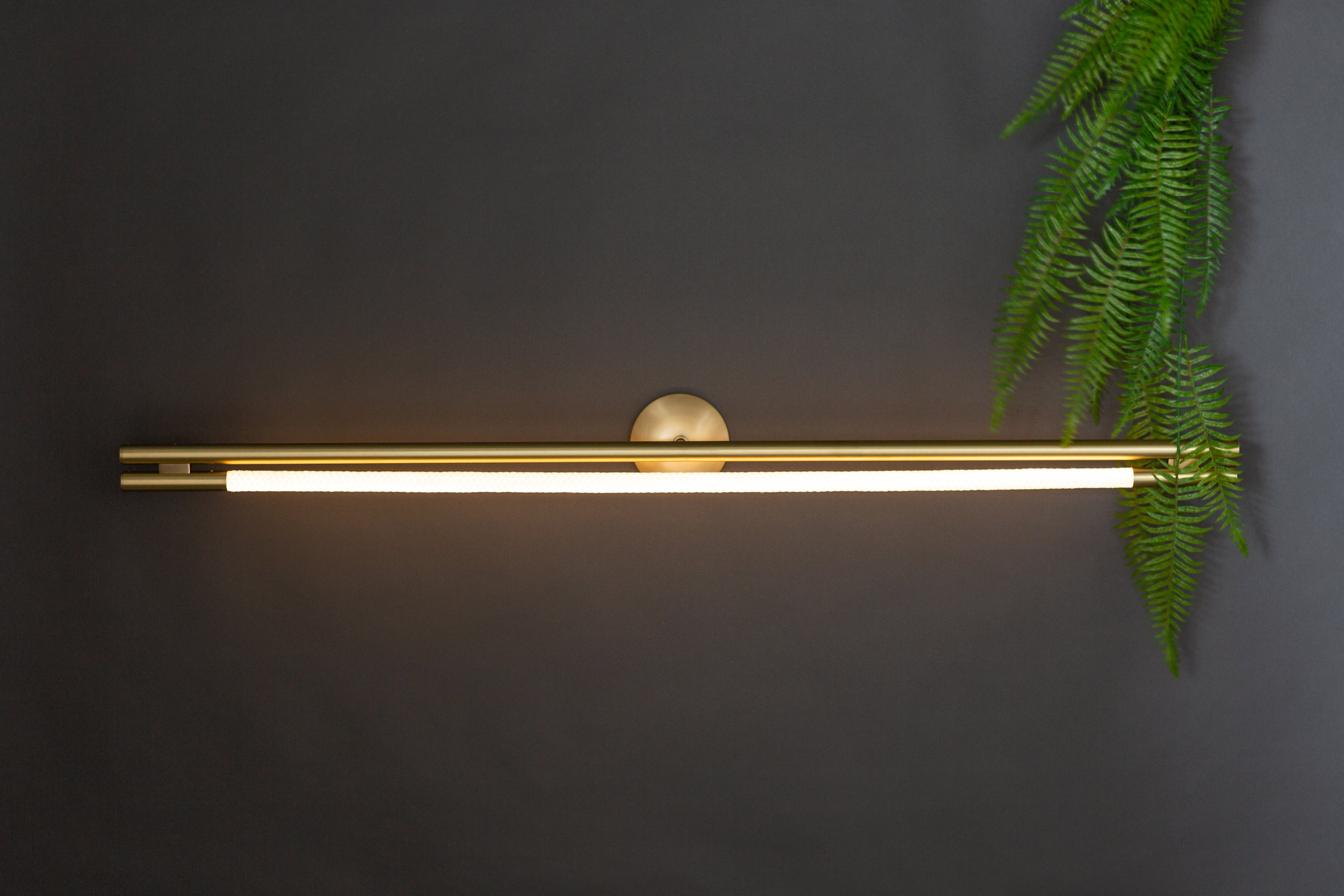 As pictured: 4.5' Leto Sconce in Satin Brass - Horizontal Orientation