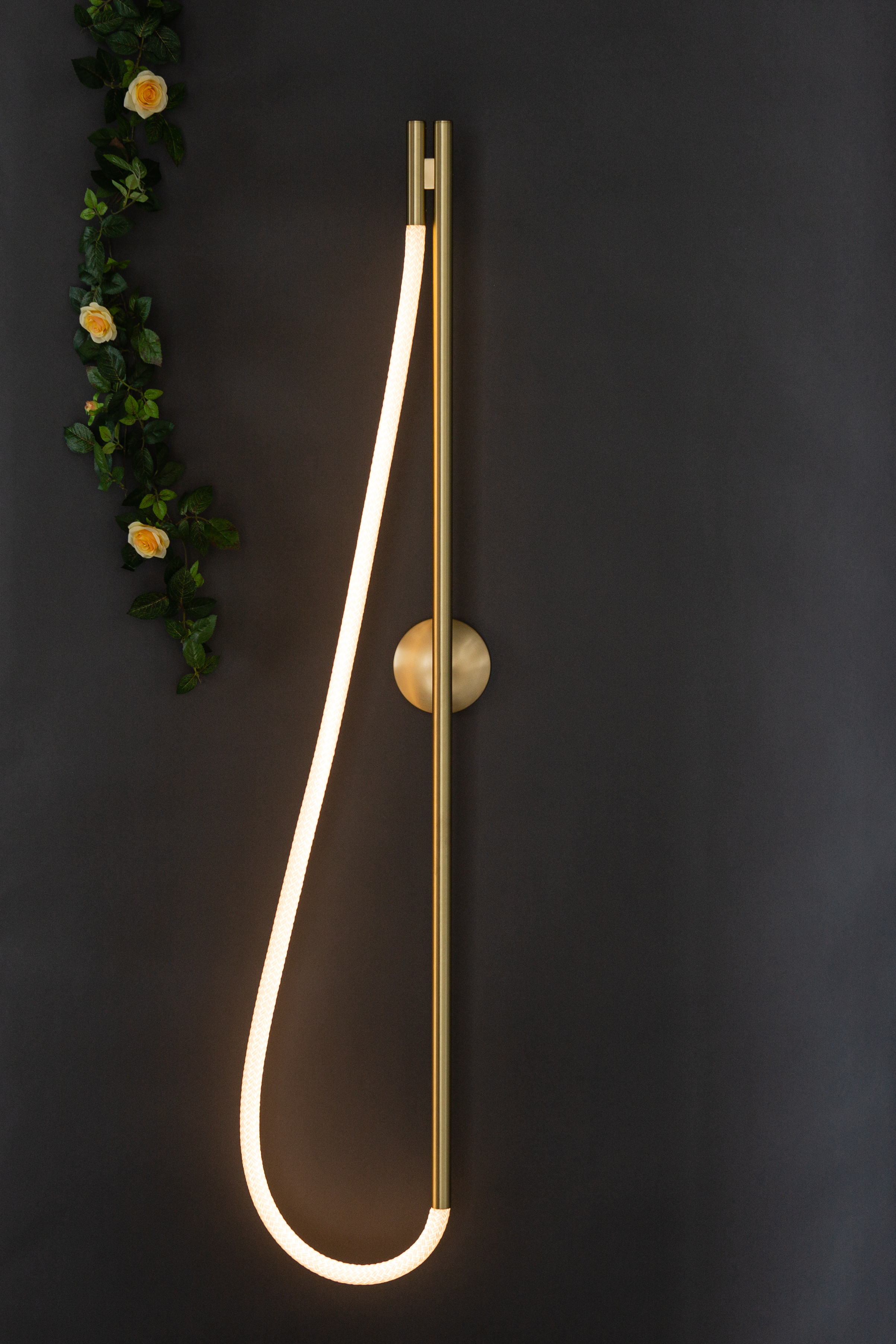 As pictured: 4.5' Artemis Sconce in Satin Brass - Vertical Orientation