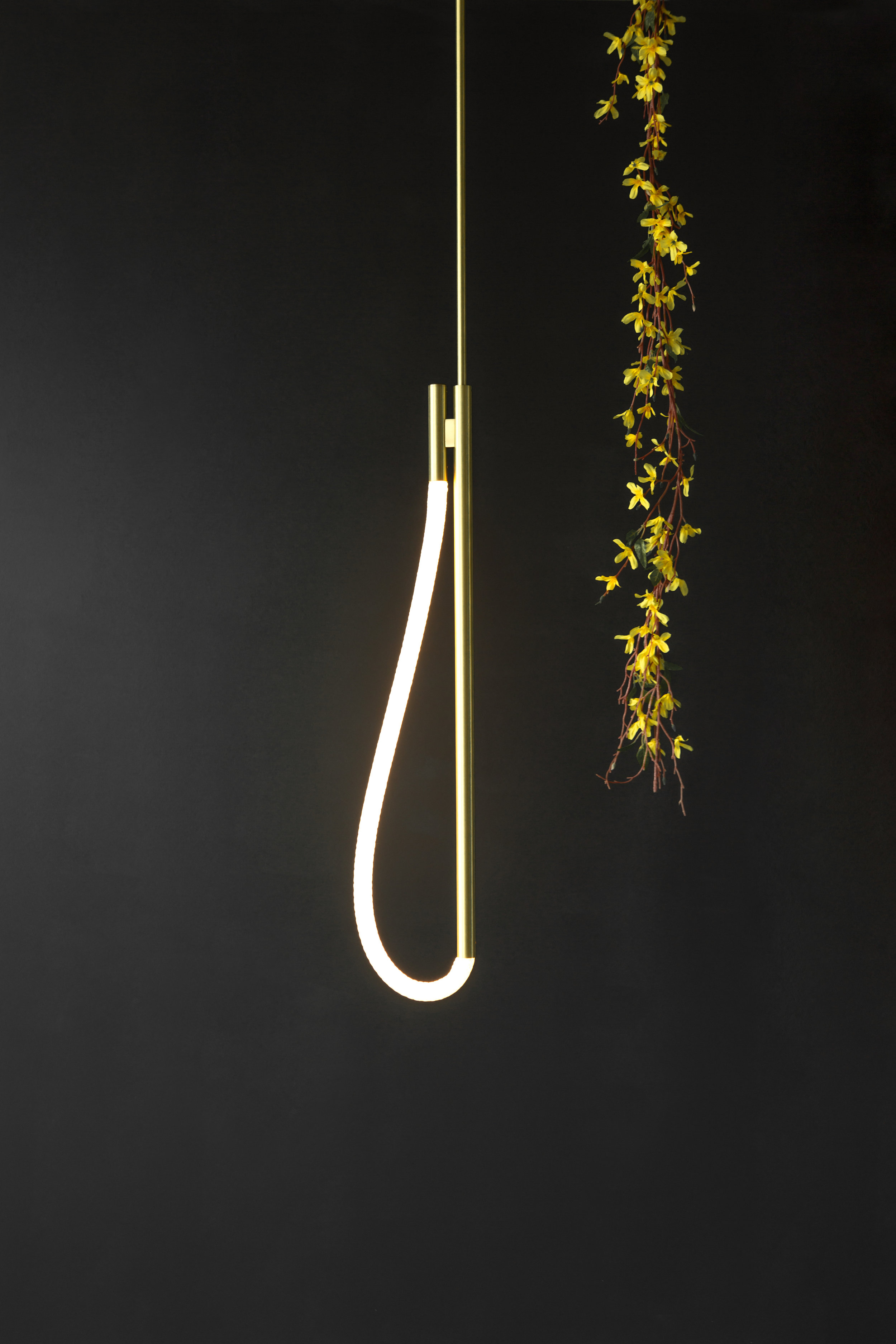 As pictured: 2.5' Artemis Pendant in Satin Brass