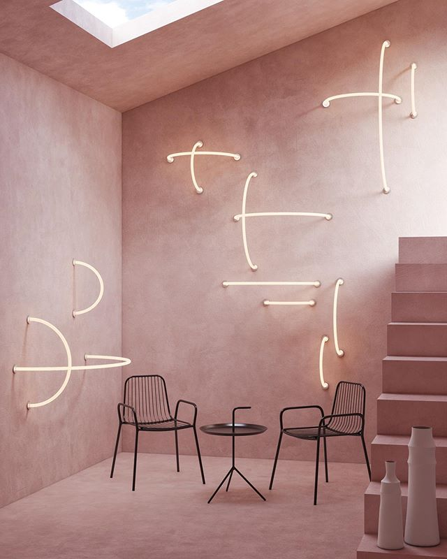 Trying out some layout ideas with our Link Sconces in our brand new giant pink concrete building that we just built yesterday solely for the purpose of this one image. No big deal. Just kidding this is a rendering 😉