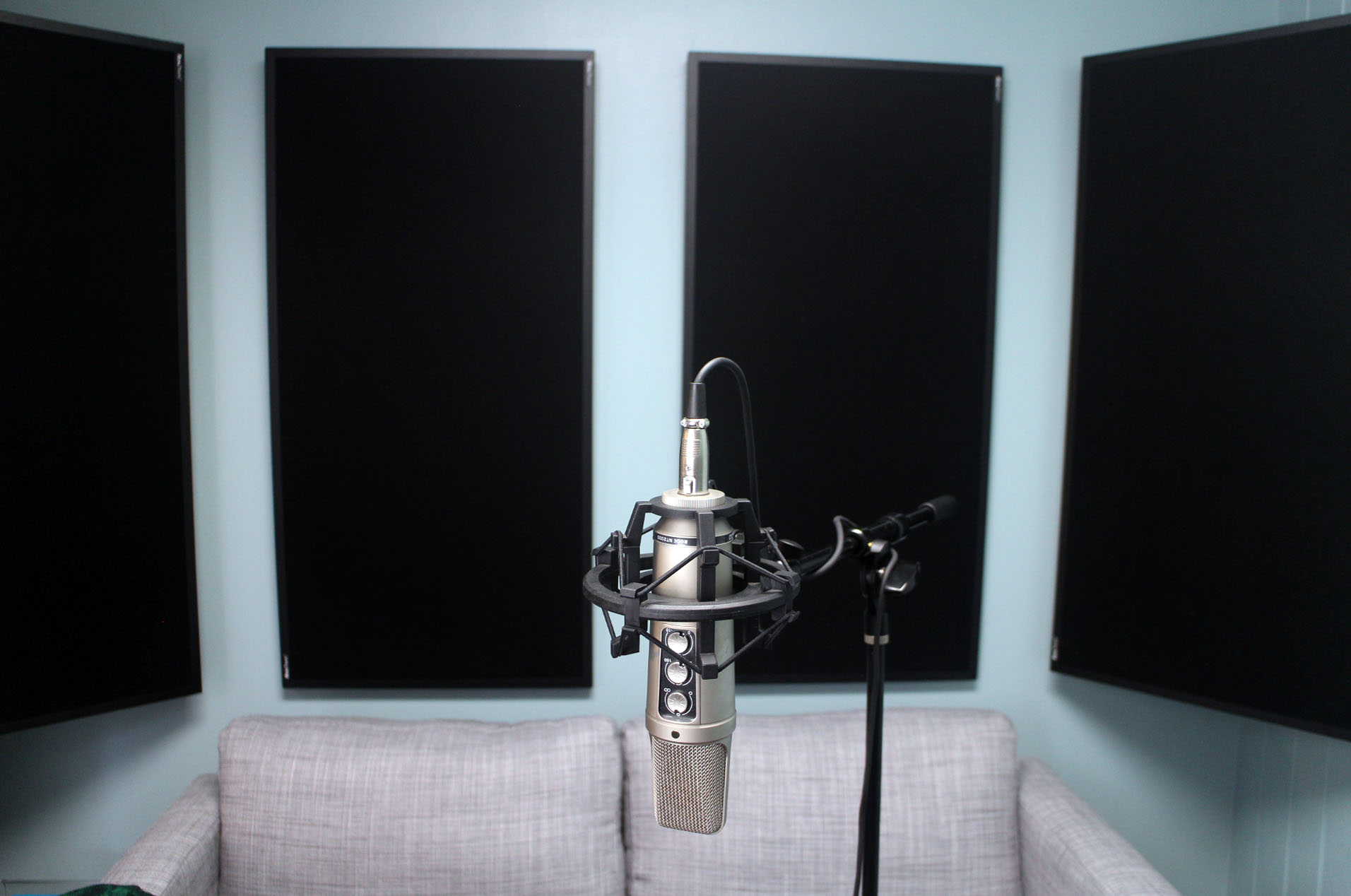 The rear wall of my sound editorial suite with my prize RealTraps in place.