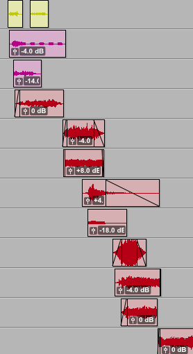 Stair stepped sound effects.