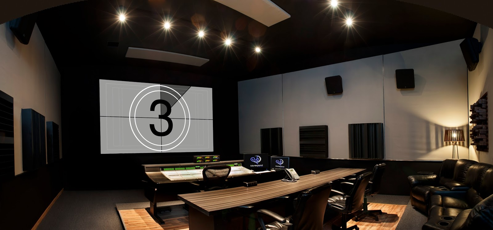 One of the re-recording mix stages at  Monkeyland Audio