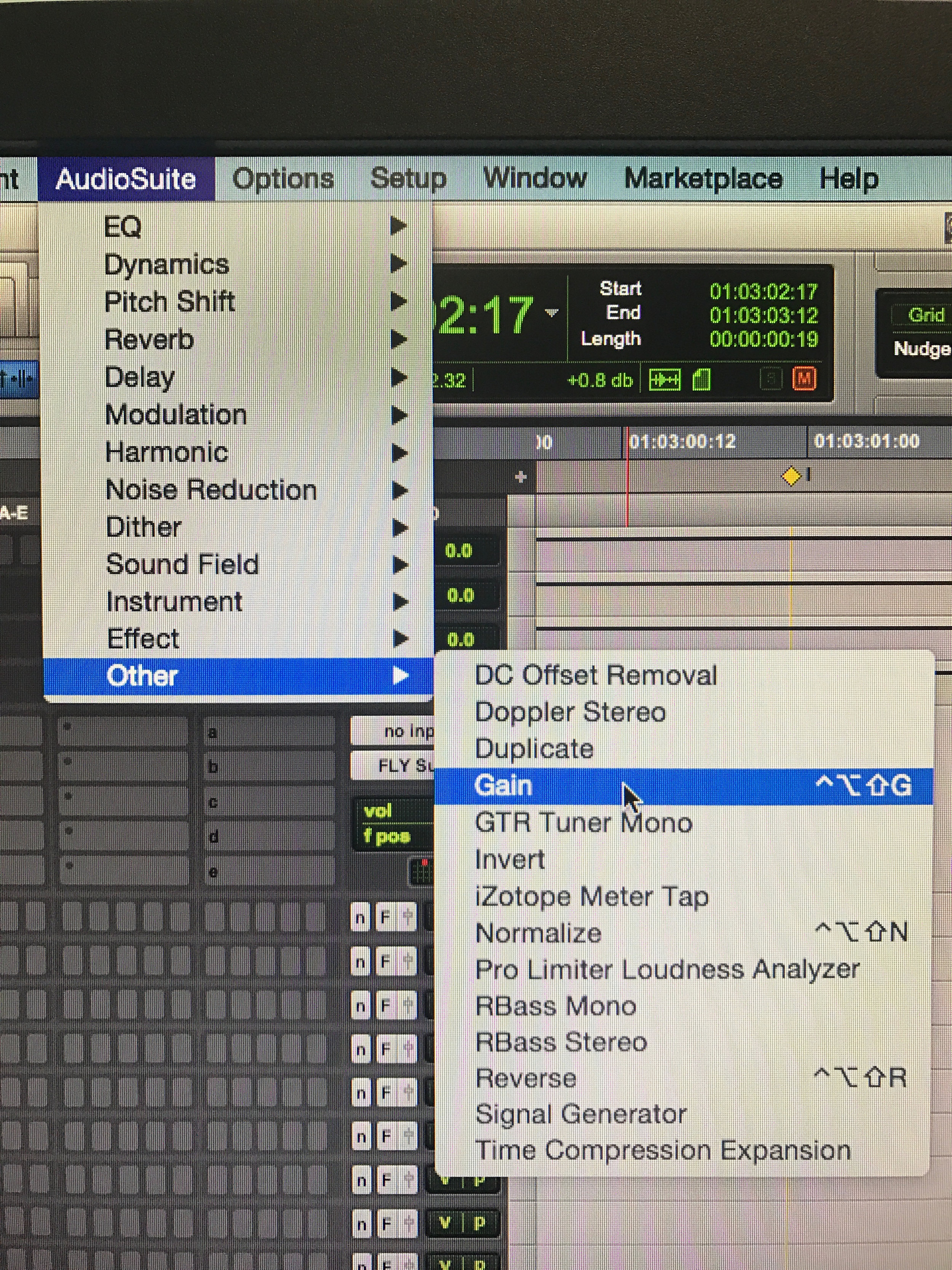 Custom keyboard shortcut for the Gain function in Pro Tools.