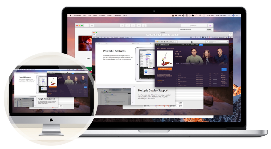 The Screens App allows users to connect seamlessly to a workstation on an iPhone, iPad or additional computer