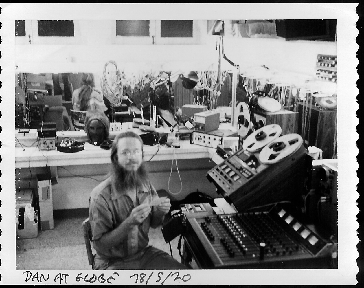 1978: Dugan prepares sound design materials in a  dressing room  at the  Old Globe Theatre  in San Diego. Photo republished from  here .