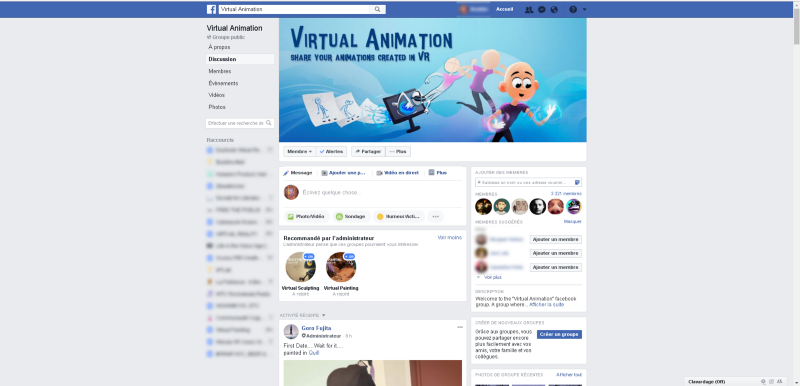 Virtual Animation Facebook group page