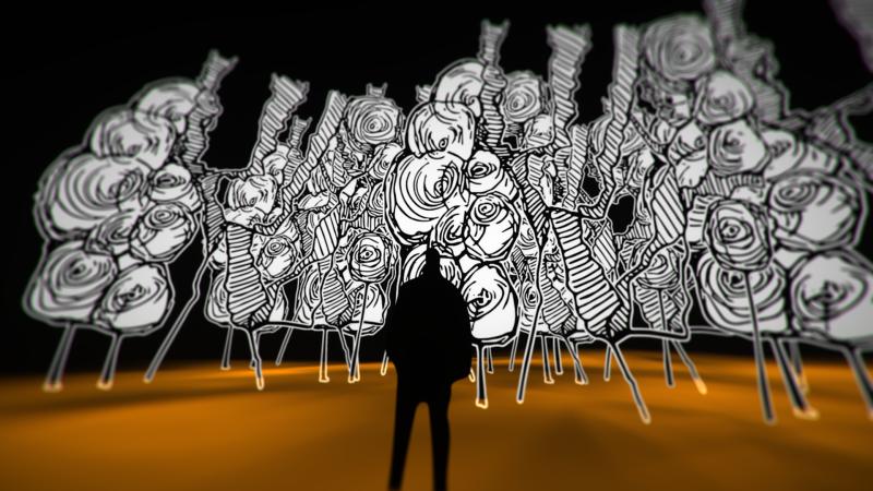 Scobot's 2D artwork in VR inside Tilt Brush