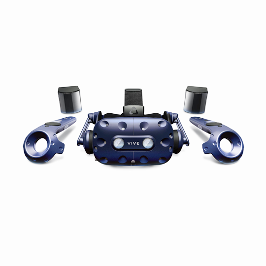HTC Vive Pro - Rental includes: 1 HTC Vive Pro headset + Link box connections, 2 controllers, 2 sensors + tripods, cleaning wipes, 2 controller chargers, traveling bag. Please note the HTC Vive Pro needs to be connected to a VR-ready laptop to work properly. Pricing: $70 for 90 min or $170 per day.