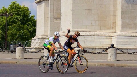 Waving to the crowds at the inaugural La Course by Tour de France 2014