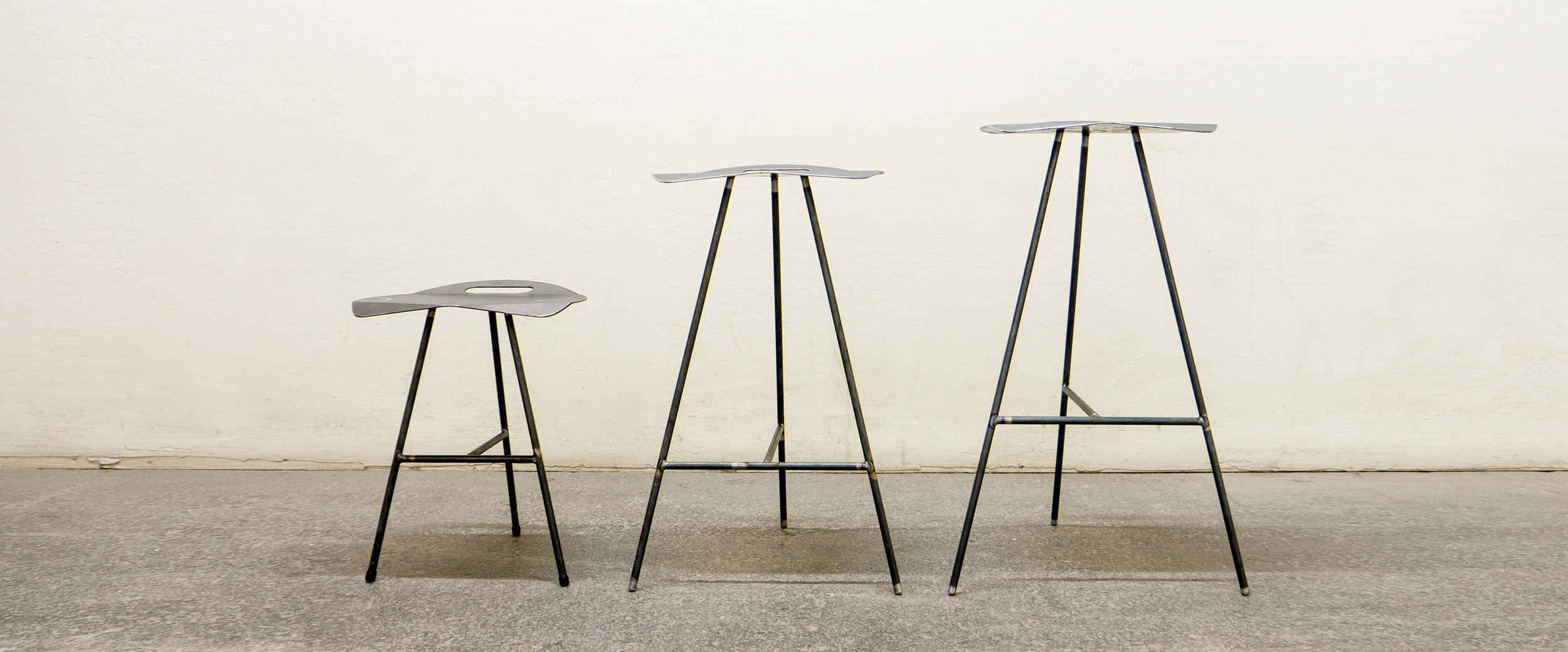 Featuring limited OldaniSteel Mill Stools in 3 sizes.