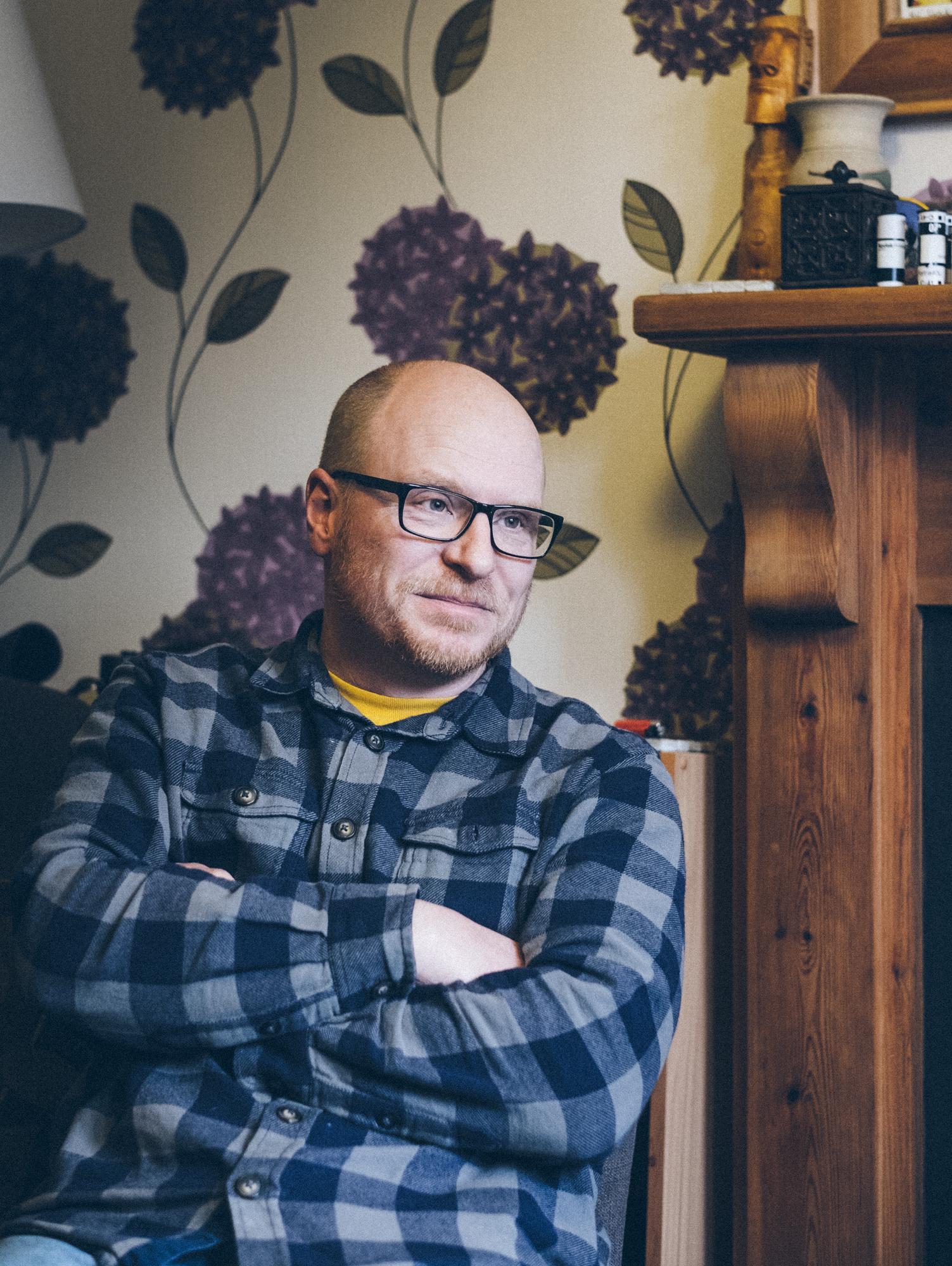 Dan Wood at home in Bridgend. © Brian Carroll
