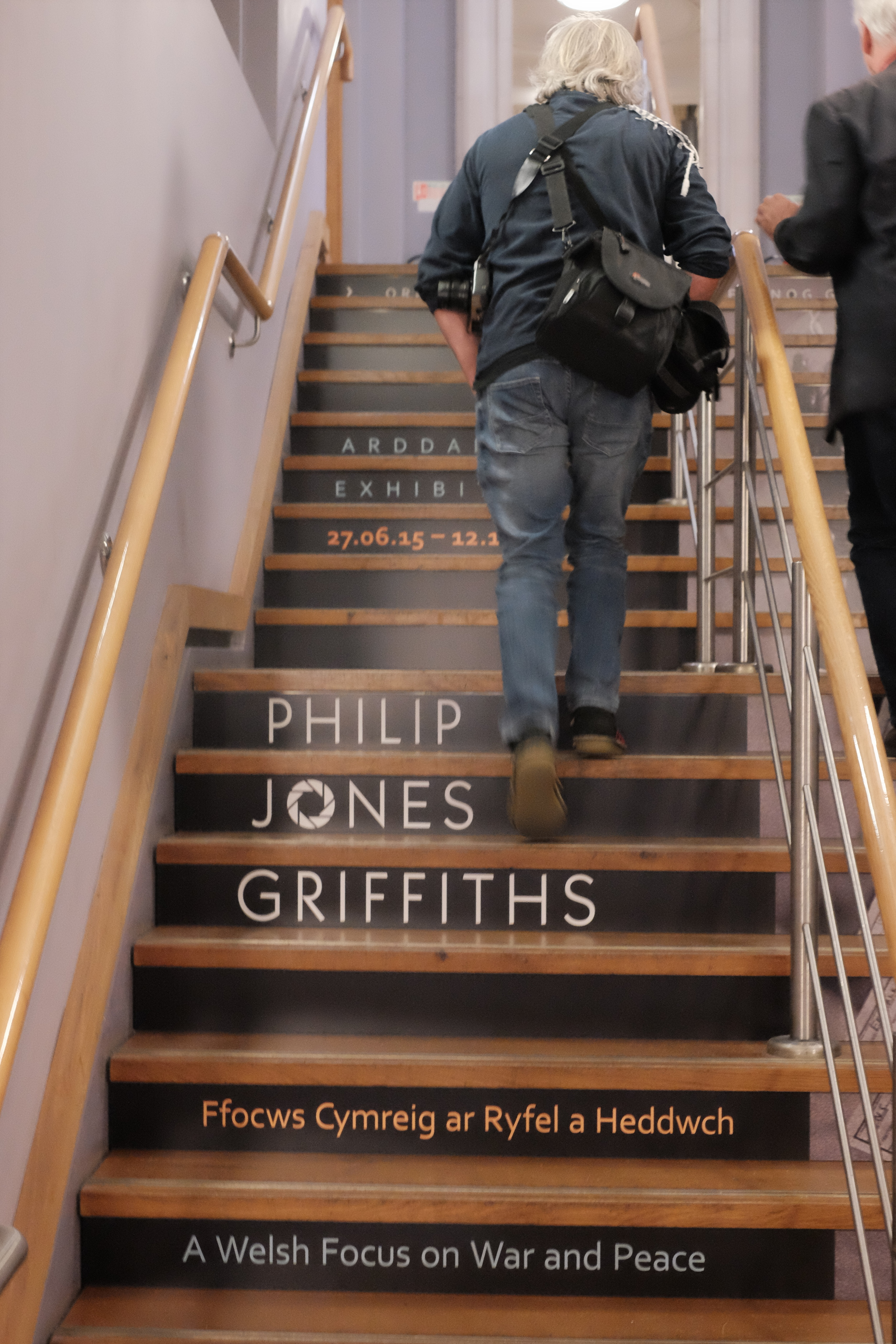 Making our way to the Philip Jones Griffiths exhibition in the National Library of Wales