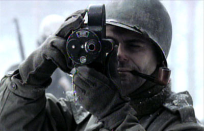 Seimon playing the part of a war cameraman in the award-winning HBO TV miniseries 'Band of Brothers'