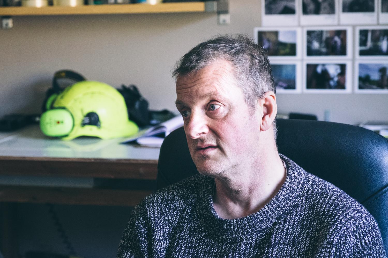 Roger Tiley in his studio in Ystradgynlais
