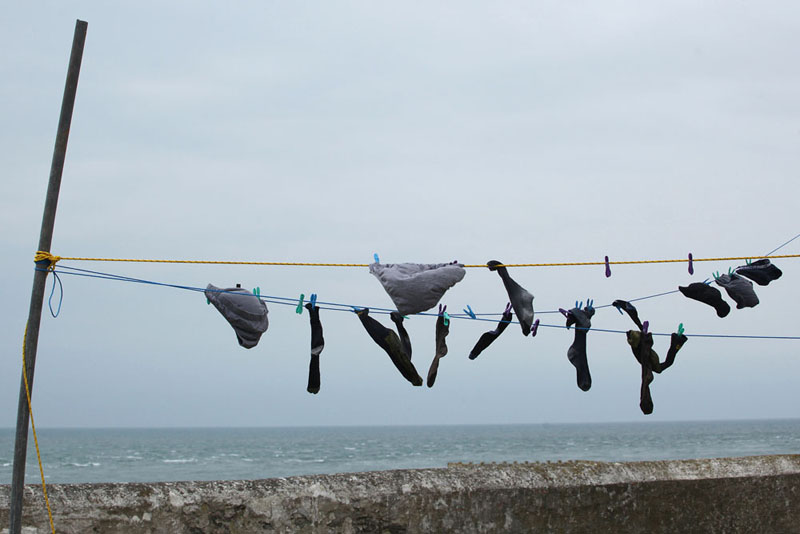 Washing line of Bardsey lighthouse. May 2014