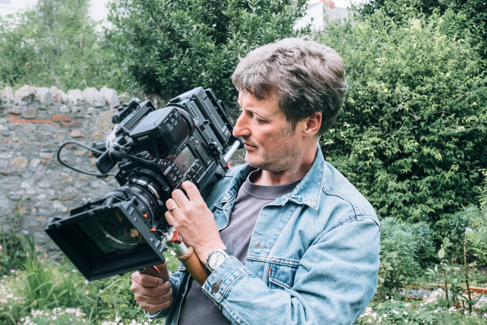 Aled with his daily filming tool - a Sony F5 4k camera