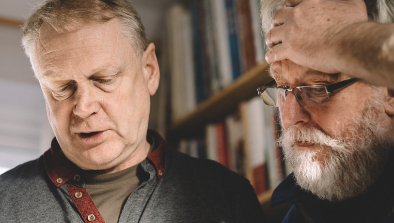 Photographer Tim Collier talking with Ffoton's Emyr Young in 2015