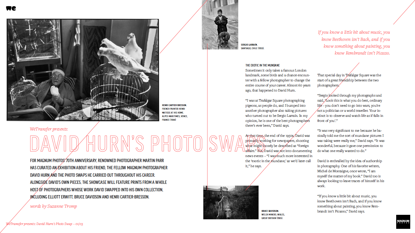 'Swap' Zine - And there's a bonus treat from Magnum and download site We Transfer - a special downloadable Zine on Hurn's 'Swap' story. Get the PDF via this link whilst it's still hot.