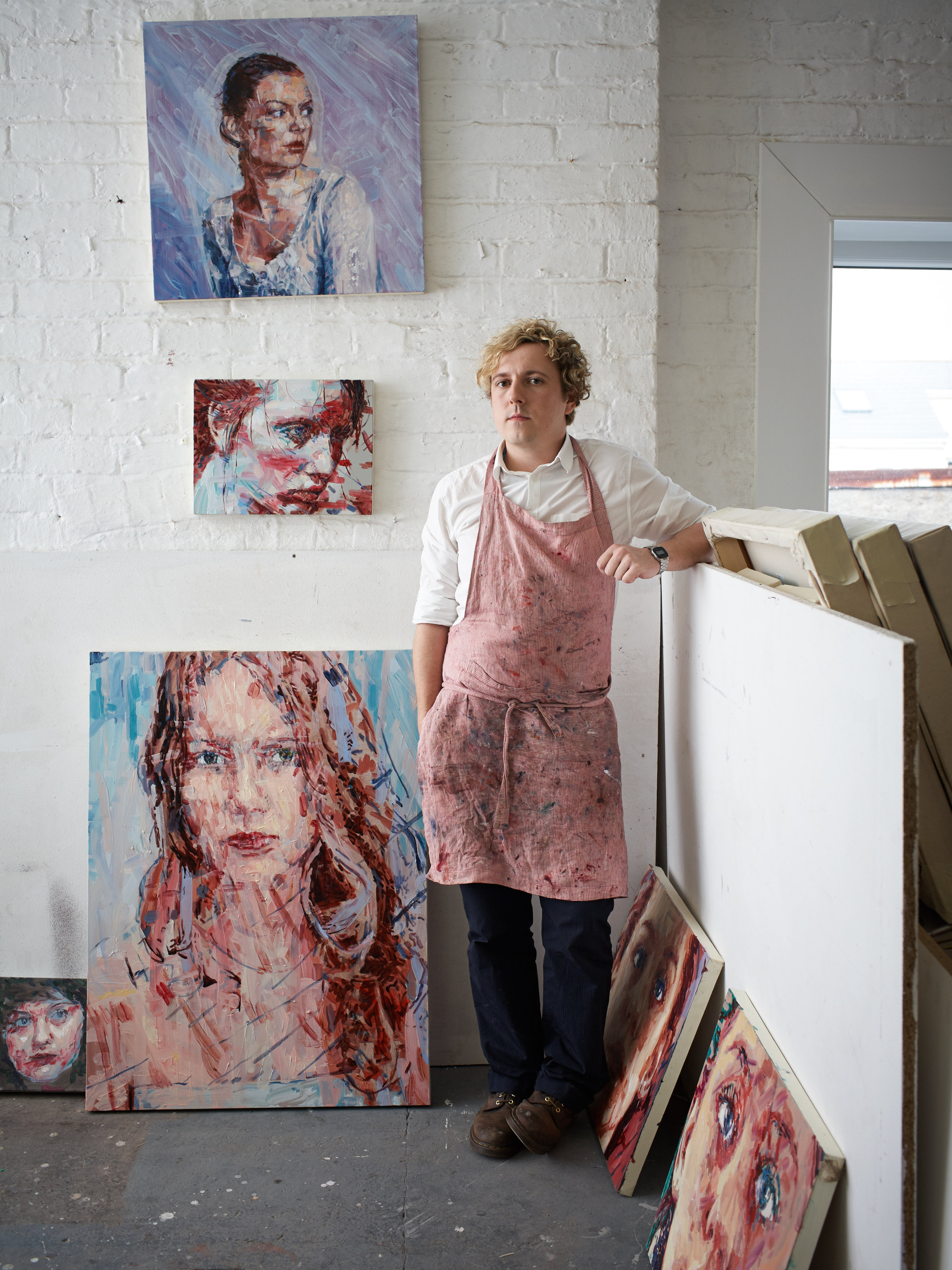 Artist Liam O'Connor in his studio