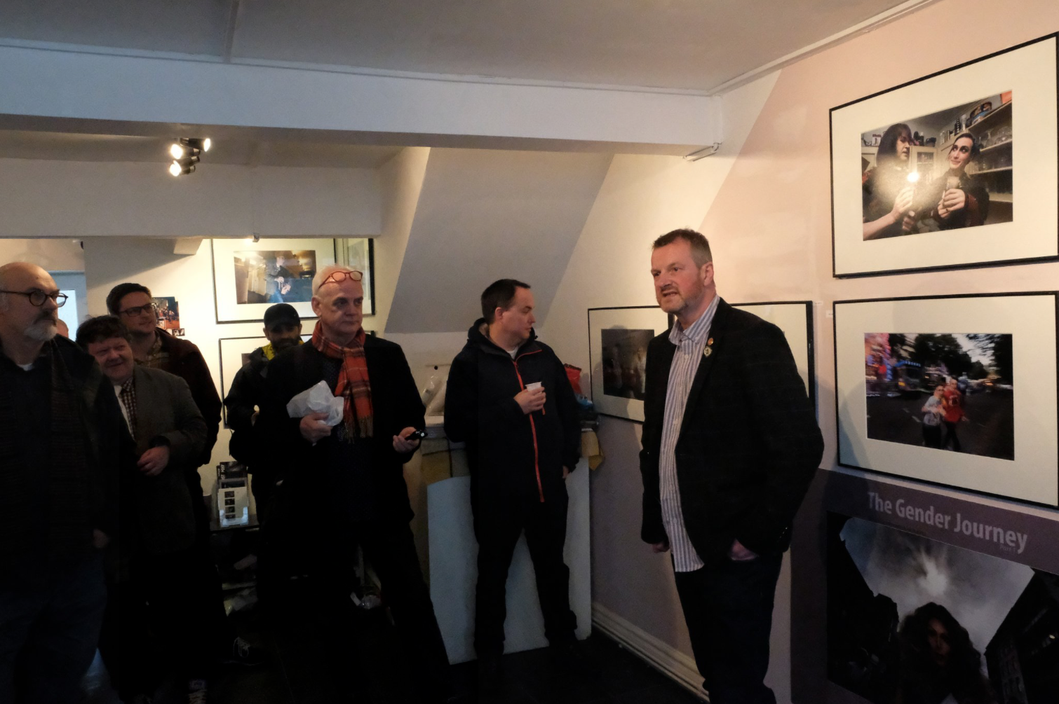 Roger Tiley speaking at the exhibition opening.