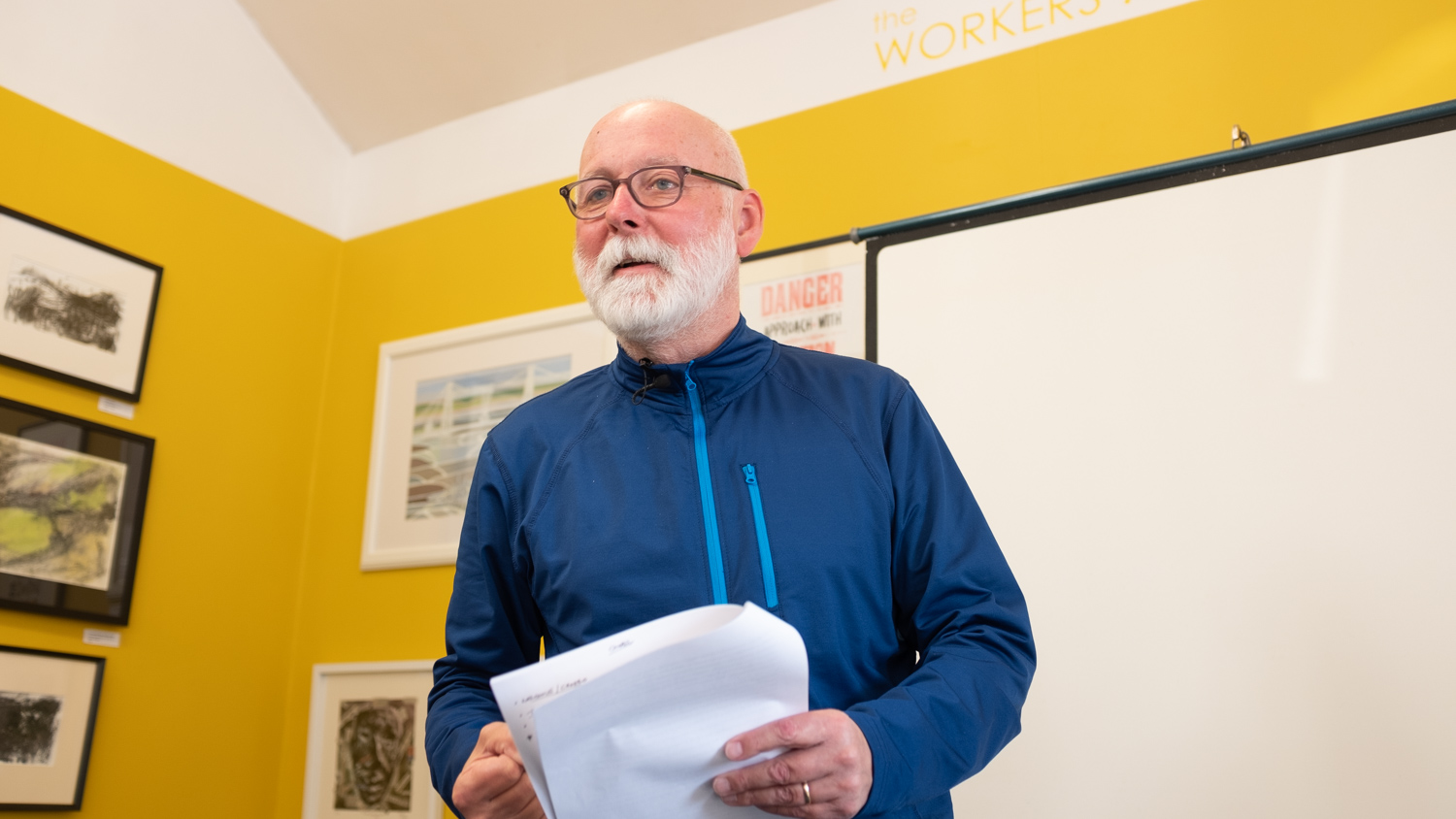 Photographer Paul Cabuts presenting his CHAPEL talk in The Workers Gallery, Ynyshir