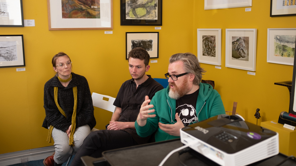 Jon Pountney (right) introduces the South Wales Project and fellow members Anna Jones and Siôn Marshall-Waters.